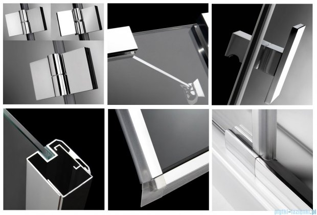 Radaway Kabina prysznicowa Essenza KDJ 80x90 lewa szkło przejrzyste + brodzik Doros D + syfon 32846-01-01NL