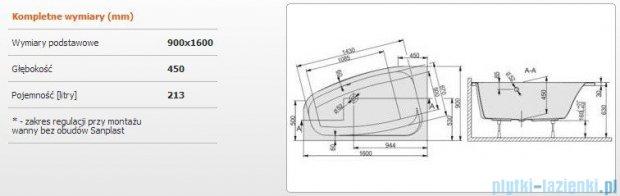 Sanplast Free Line Wanna asymetryczna lewa+stelaż WAL/FREE 160x90+ST26, 610-040-0680-01-000
