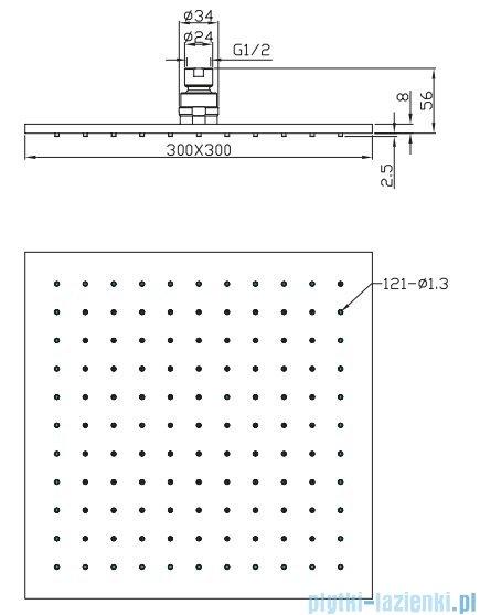 Omnires Slimline deszczownica mosiężna 30x30cm chrom WG230
