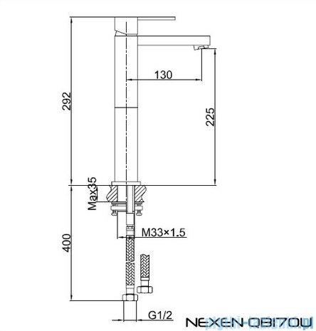 Kohlman Nexen 1-otworowa bateria umywalkowa-wersja wydłużona QB170U