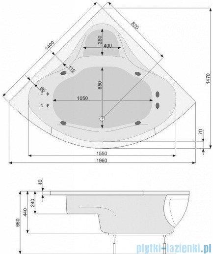 Poolspa Wanna symetryczna FRANCJA 140x140 + hydromasaż Smart 1 PHS3210ST1C0000