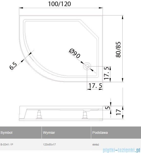 New Trendy New Maxima brodzik asymetryczny 120x85x17cm prawa B-0341/P