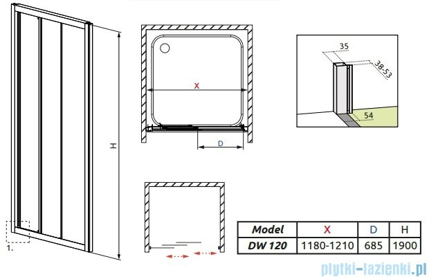 Radaway Treviso DW Drzwi wnękowe 120 szkło fabric 32333-01-06N