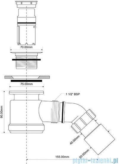 McAlpine Syfon brodzikowy 50'' pokrywa kolorze chrom HC26SCPB