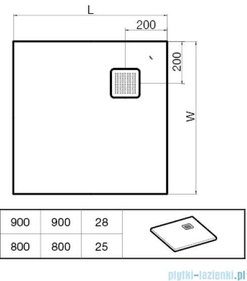 Roca Terran 90x90cm brodzik kwadratowy konglomeratowy ciemnoszary AP0338438401200