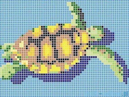 Dunin Q design mozaika szklana wzór 131x98 turtle