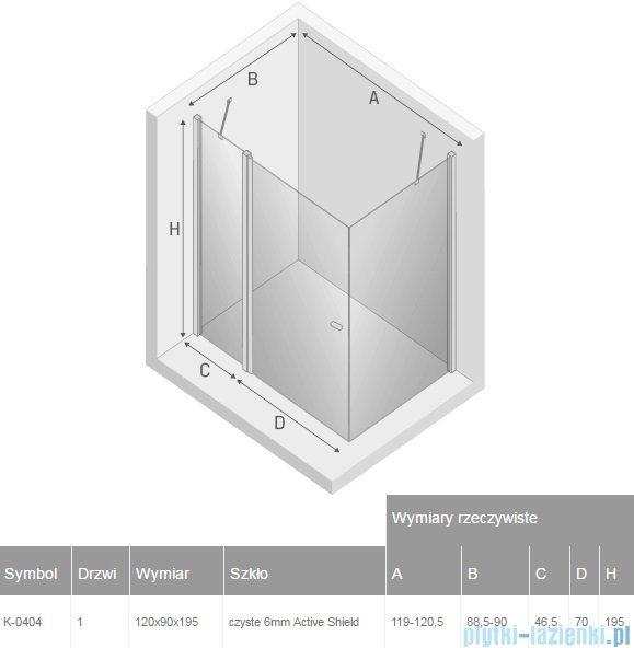 New Trendy New Soleo 120x90x195 cm kabina prostokątna przejrzyste K-0404