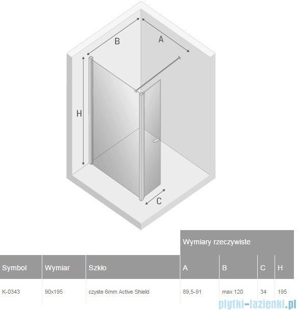 New Trendy New Soleo kabina Walk in 90x195 cm przejrzyste K-0343