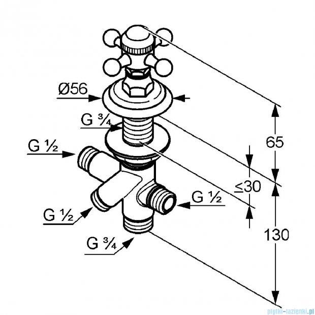 Kludi Adlon Przełącznik dwukierunkowy neutralny DN 15 mosiądz 518484520