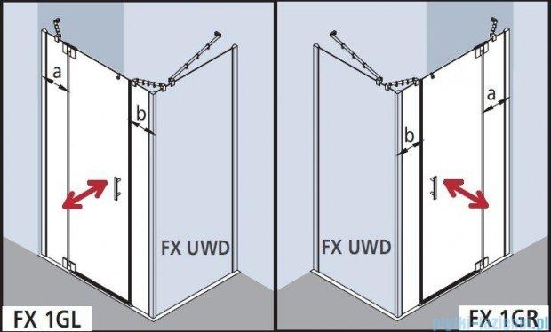 Kermi Filia Xp Drzwi wahadłowe 1-skrzydłowe z polami stałymi, prawe, przezroczyste KermiClean/srebrne 120x200cm FX1GR12020VPK