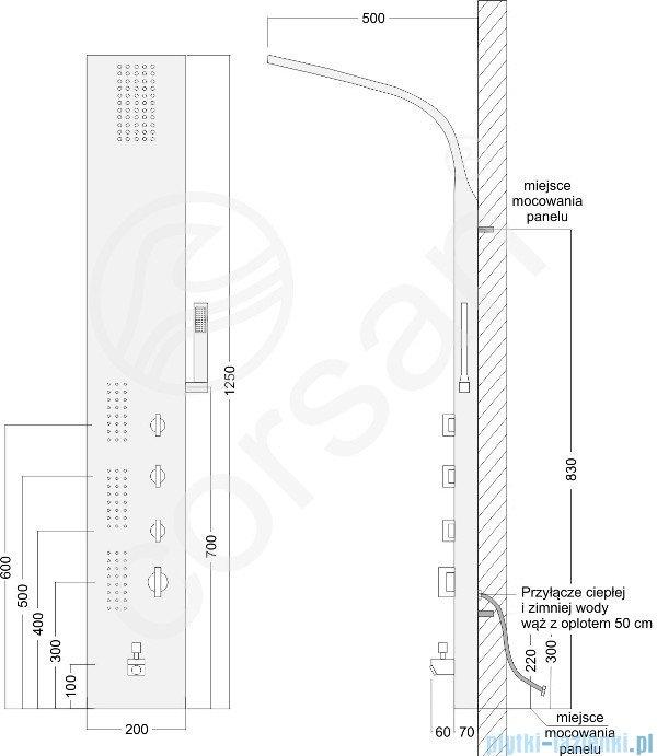 Corsan Amigo panel natryskowy z mieszaczem stal S-121M