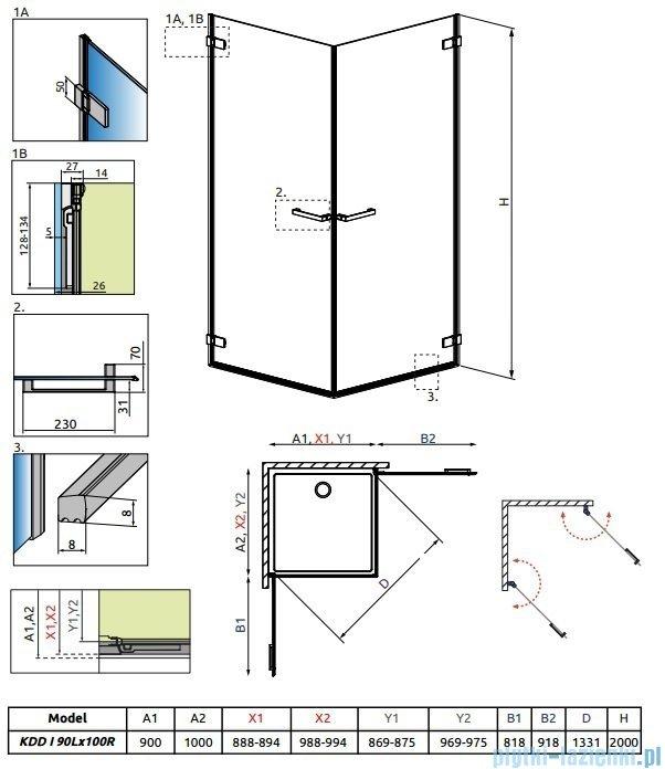 Radaway Arta Kdd I kabina 90x100cm szkło przejrzyste 386061-03-01L/386062-03-01R