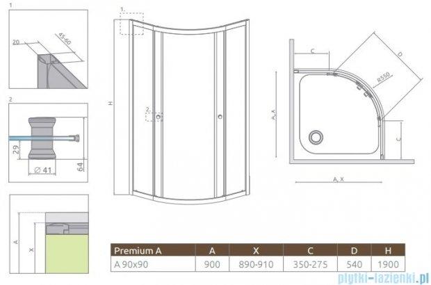 Radaway Premium A Kabina półokrągła 90x90x190 szkło grafitowe 30403-01-05