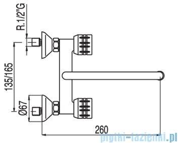 Tres Ese-23 Bateria zlewozmywakowa ścienna kolor chrom 1.23.315