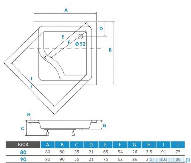 Piramida Igor Brodzik 90x90x24/35 kwadratowy z głębokim siedziskiem #BAI-90