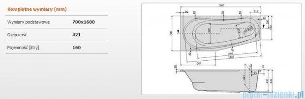 Sanplast As Wanna asymetryczna lewa WAL/AS 160x70 cm 610-130-0210-01-000