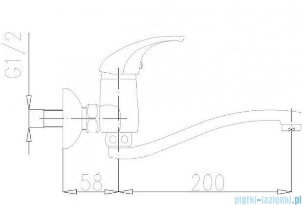 KFA BARYT Bateria umywalkowo-zlewozmywakowa ścienna dł. wylotu 200 mm chrom 550-910-00