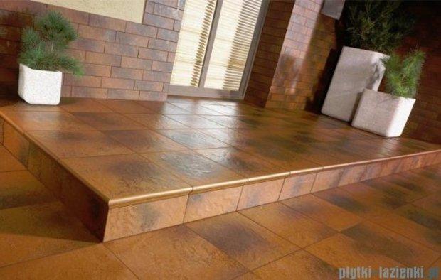 Paradyż Semir brown klinkier stopnica narożna z kapinosem 33x33
