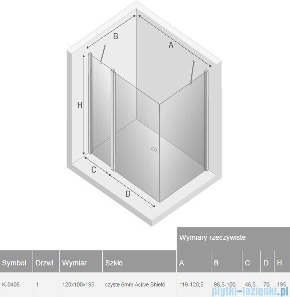 New Trendy New Soleo 120x100x195 cm kabina prostokątna przejrzyste K-0405