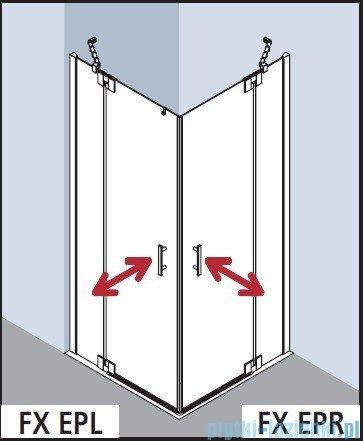 Kermi Filia Xp Wejście narożne, jedna połowa, prawa, szkło przezroczyste KermiClean, profil srebro 80x200cm FXEPR08020VPK