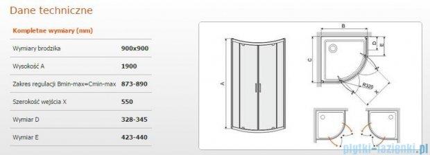 Sanplast kabina półokrągła narożna KP2DJ/TX5-90 szkło przezroczyste 600-271-0430-38-401