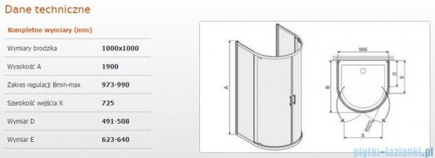 Sanplast Kabina przyścienna półokragła KPP2DJ/TX5b-100 100x100x190 cm szkło Cora 600-271-0450-38-371