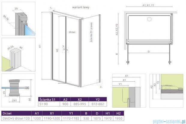 Radaway Eos II DWD+S kabina 120x90 lewa szkło przejrzyste 3799494-01/3799411-01R