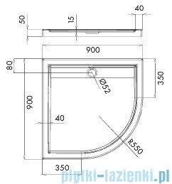 Schedpol Ajax brodzik półokrągły z klapką odpływu 90x90x4,5cm R55 3.4227
