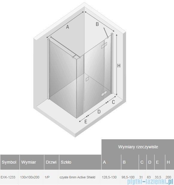 New Trendy Reflexa Plus 130x100x200 cm kabina prostokątna prawa przejrzyste EXK-1233