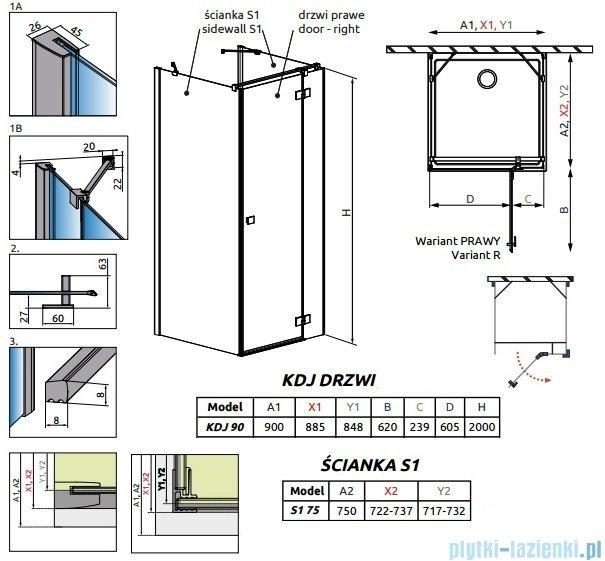 Radaway Essenza New Kdj+S kabina 75x90x75cm prawa szkło przejrzyste 385020-01-01R/384049-01-01/384049-01-01