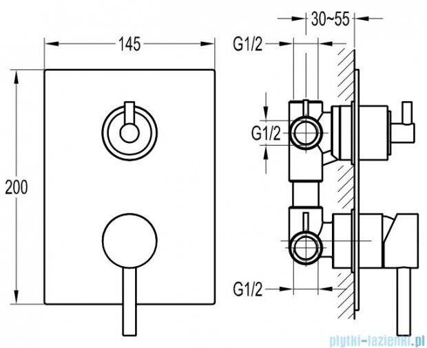 Omnires Y bateria natryskowa-wannowa podtynkowa 3- wyjściowa chrom Y1237/K
