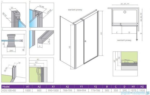Radaway Eos KDS kabina prysznicowa 100x80 prawa szkło przejrzyste 37550-01-01NR