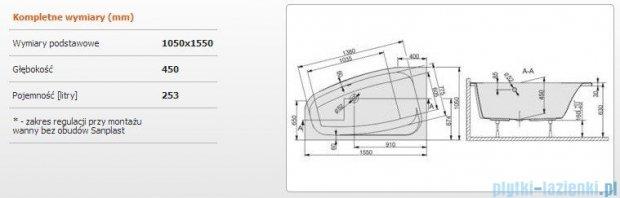 Sanplast Free Line Wanna asymetryczna lewa+stelaż WAL/FREE 155x105+ST27, 610-040-0940-01-000