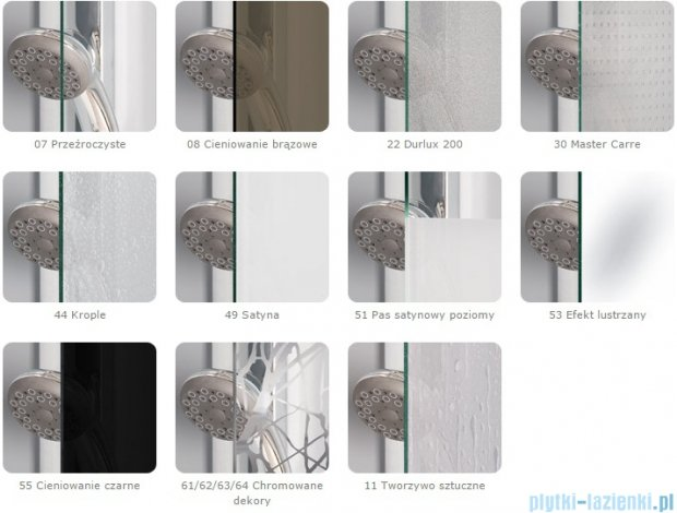 Sanswiss Melia ME13 Drzwi ze ścianką w linii z uchwytami lewe do 160cm efekt lustrzany ME13WGSM21053