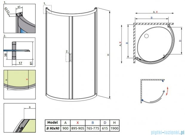 Radaway Premium Plus B Kabina półokrągła z drzwiami jednoczęściowymi 90x90 szkło satinato 30473-01-02N