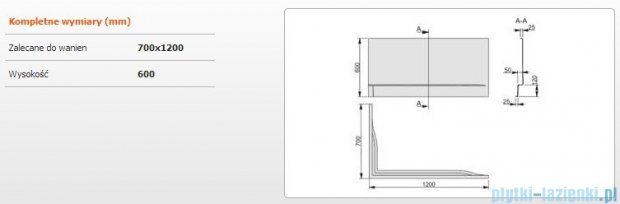 Sanplast Obudowa do wanny Free Line prawa, OWPLP/FREE 70x120 cm 620-040-0130-01-000
