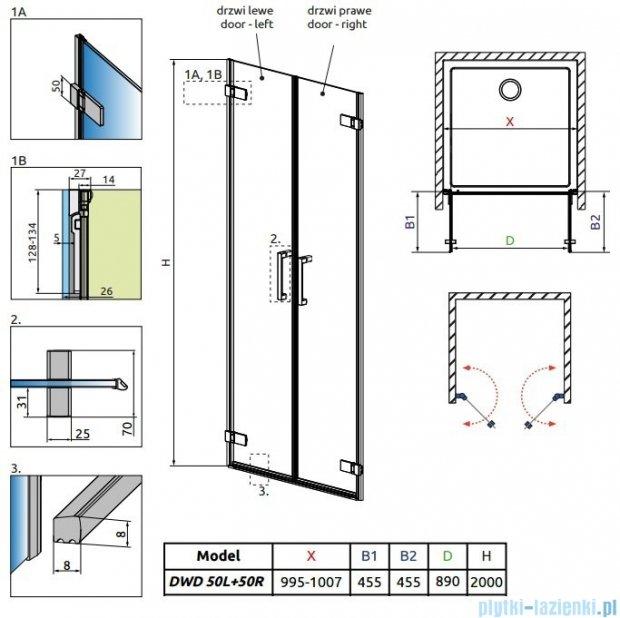 Radaway Arta Dwd drzwi wnękowe 100cm szkło przejrzyste 386032-03-01L/386032-03-01R