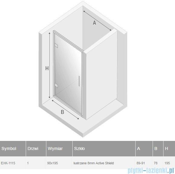 New Trendy Lumina drzwi prysznicowe 90cm szkło lustrzane EXK-1115