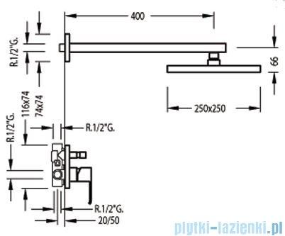 Tres Cuadro-Tres Zestaw natryskowy z baterią podtynkową 1.06.985