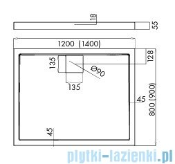 Schedpol Omega brodzik prostokątny z klapką odpływu 140x80x5,5cm 3.0454