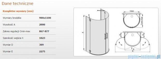Sanplast kabina przyścienna KPP/AVIV 90x110 szkło przejrzyste 600-084-0590-42-401