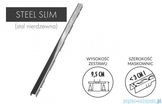 Schedpol Slim Lux odpływ liniowy z maskownicą Steel Slim 80x3,5x9,5cm OLSL80/SLX