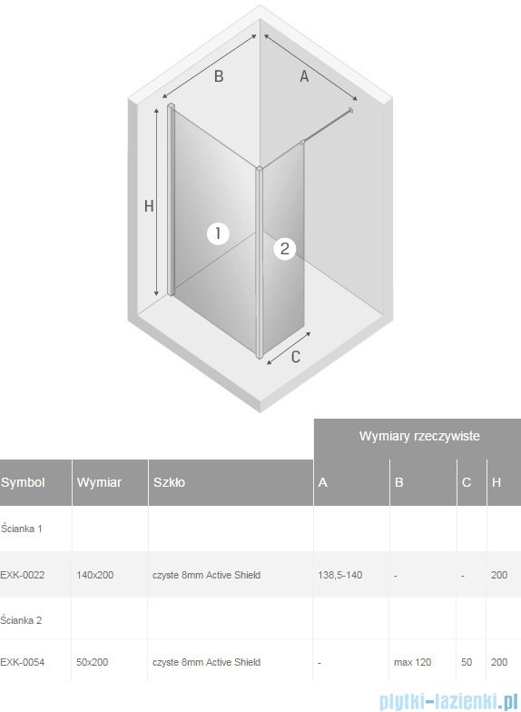 New Trendy New Modus kabina Walk-In 140x50x200 cm przejrzyste EXK-0022/EXK-0054