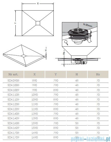 Radaway brodzik podpłytkowy z kratką odpływową 119x79cm 5DK1208,5K01,5SK1