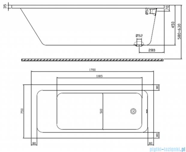 Koło Modo Wanna prostokątna 170x75cm odpływ z boku XWP1170
