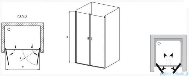 Ravak Chrome Drzwi prysznicowe podwójne CSDL2-120 polerowane aluminium+transparent 0QVGCC0LZ1