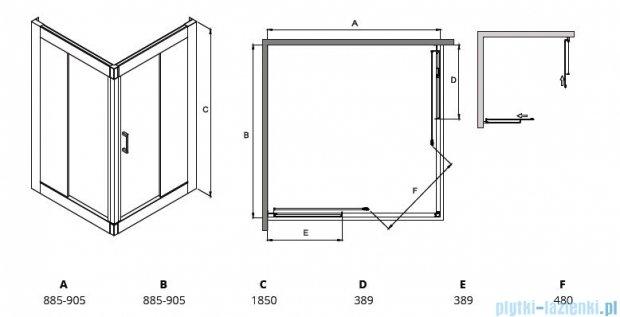 Besco Modern kabina kwadratowa 90x90x185cm przejrzyste MK-90-185-C