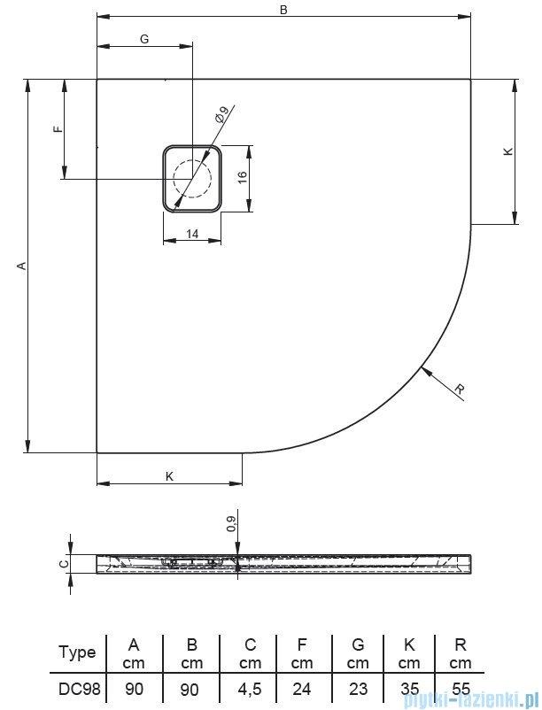 Riho Basel 451 brodzik półokrągły czarny połysk 90x90x4,5cm DC9816