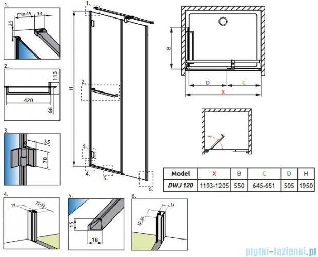Radaway Carena DWJ Drzwi prysznicowe 120 lewe szkło brązowe + brodzik Doros D 34332-01-08NL