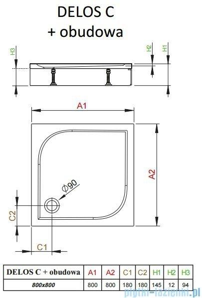 Radaway Brodzik kwadratowy Delos C 80x80x14 z obudową 4C88170-03
